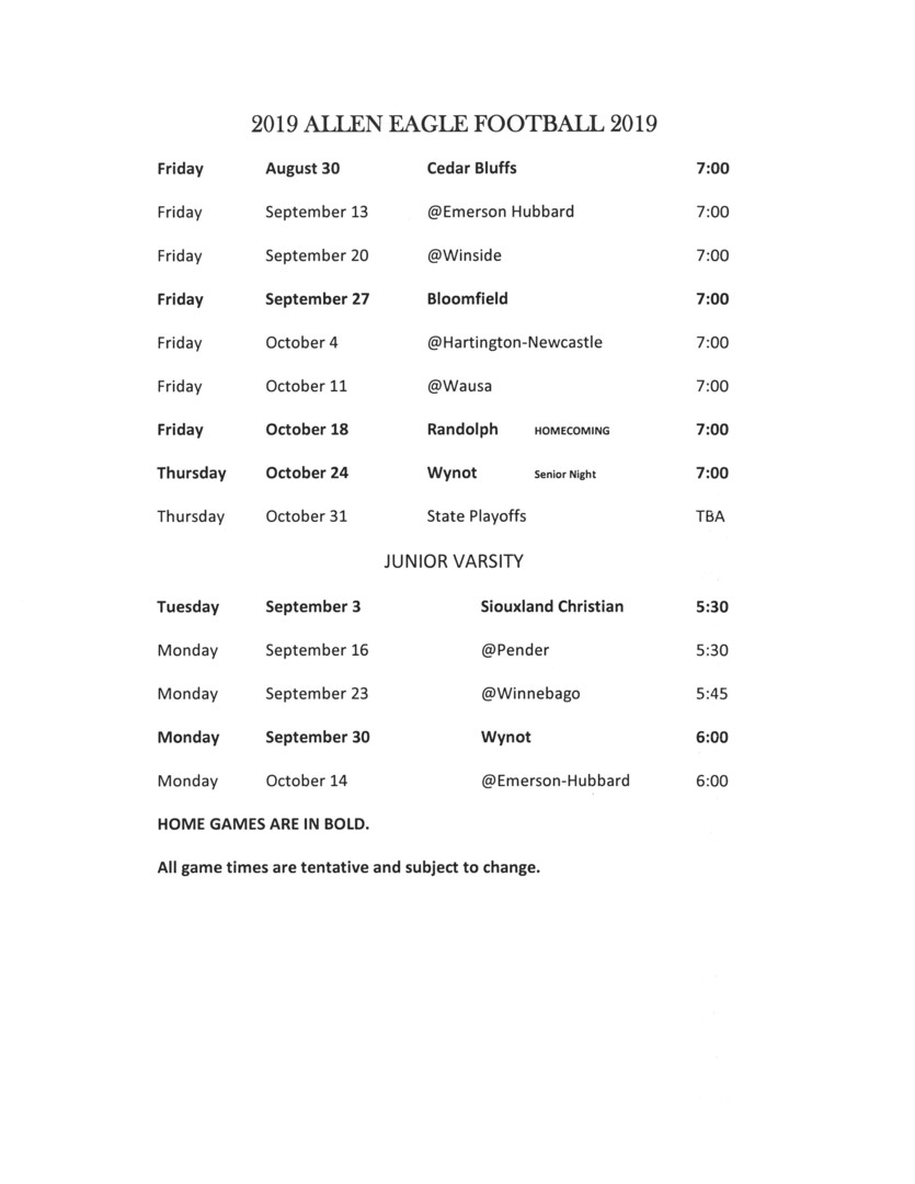 Allen Consolidated Schools 2019 Eagle Football Schedule And Roster
